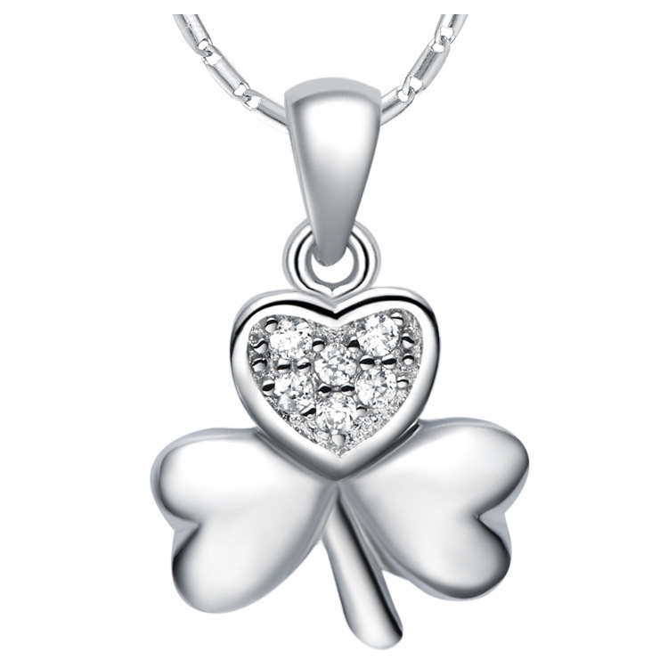 European and American fashion 925 sterling silver necklace trade plated 18K white gold clover flowers wholesale Micro Pave(China (Mainland))
