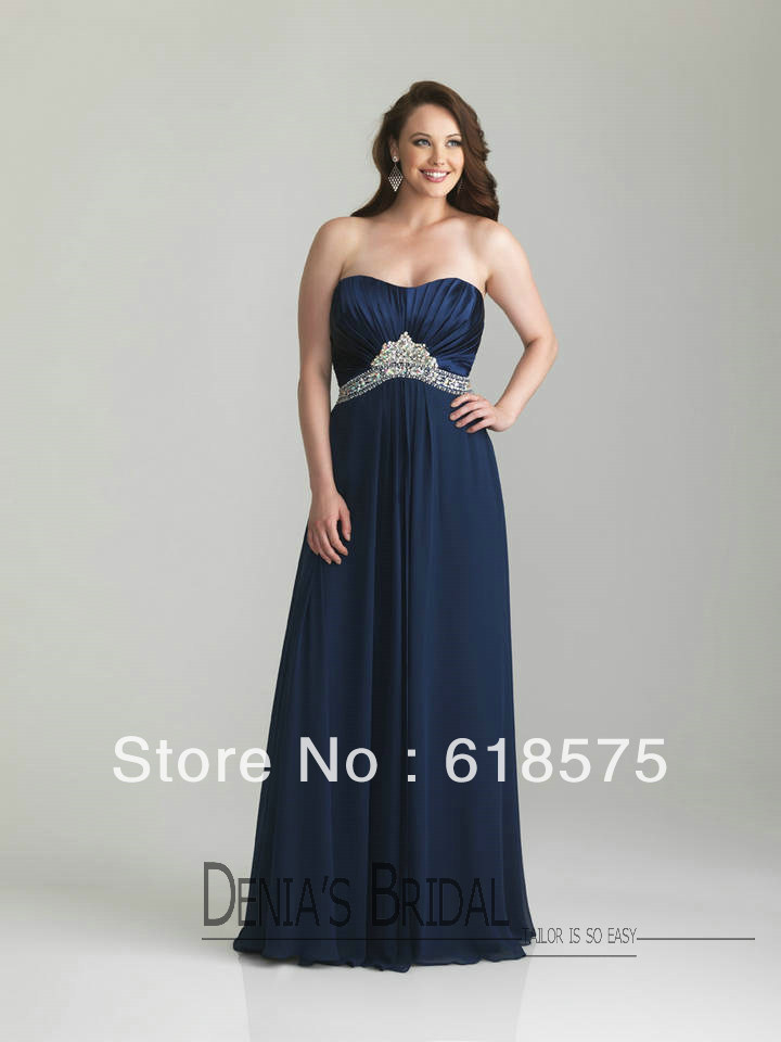 Modern Strapless Empire Pregnant Women Beaded Long Chiffon Navy Blue Formal Plus Size Dresses(China (Mainland))