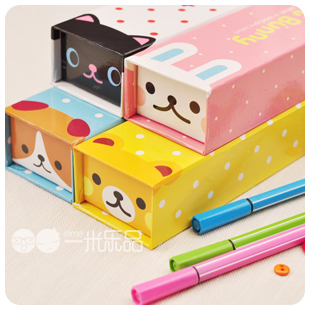 Meters korea stationery fresh brief cartoon animal dot paper stationery box pencil case