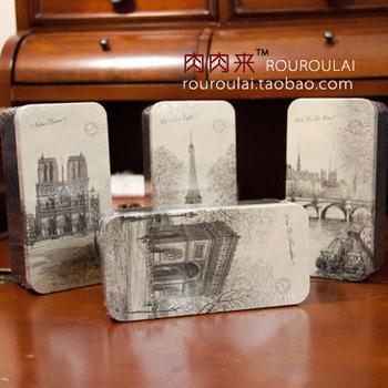 T meat vintage retro finishing tin box storage box stationery pencil case romantic