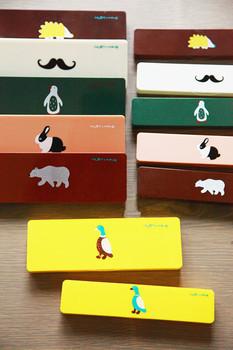 Korea stationery cartoon multi-colored pencil case storage box plastic stationery box pencil box animal graphic patterns simple