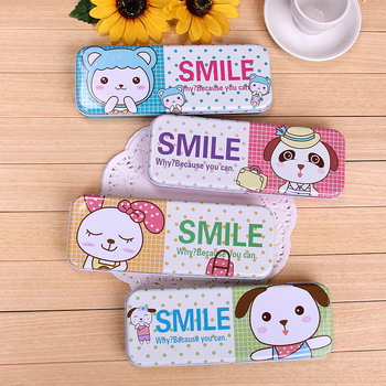 Pistachion cartoon animal double layer metal stationery pencil box 100g
