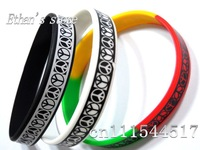 Free Shipping Rainbow Peace  Wristband Silicone Bracelets for Kids wholesalers Mix color