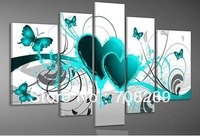 5pcs/ set Aqua green love butterfly POP Modern HOME decoration wall art oil painting on canvas oil paintings gifts Discount C02
