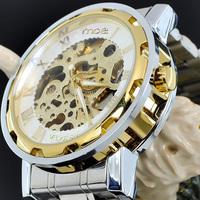 Free Shipping New Dress Fashion Clock Style Sliver Tone Skeleton Mechanical Men Women Watch