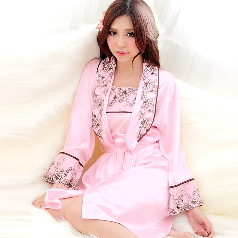 Core women's embroidery married sleepwear sexy lovely nightgown sleepwear lounge twinset(China (Mainland))