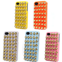 1PCS Punk Style Spikes Studs Rivet Hard Back Case Cover For Apple iPhone 4 4G 4S  + free shipping + 1 year warranty