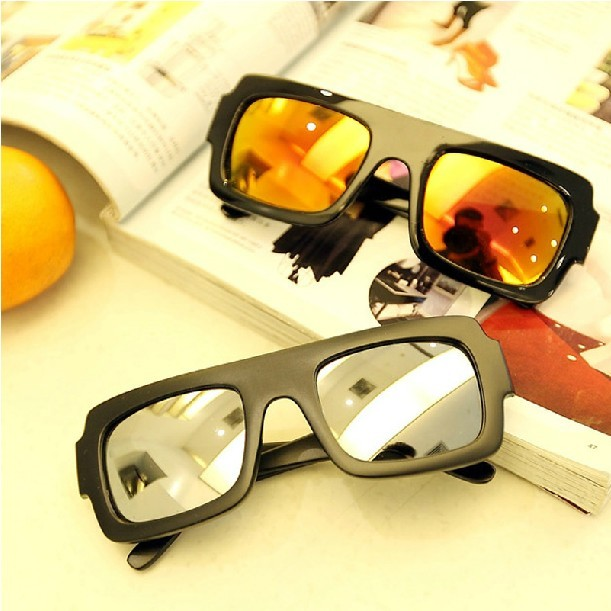Wholesale Fashion Male star style stunning beautiful reflective lens square sunglasses sun glasses Via EMS(China (Mainland))