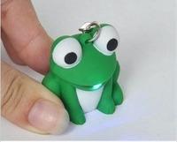 Novelty gift cartoon frog luminous of vocalization keychain electronic led lighting flashlight toy