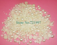 1000pcs/bag x Mixed Size 2 to10mm Cream Ivory White Half Round Resin Flatback Nail Art Pearls Phone Decoration-Free Shipping