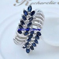 Free shipping Sapphire ring Natural blue sapphire  925 silver plated 18k white gold rings 22pcs gems Fashionable women's jewels