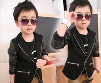 New 2013  fashion handsome children clothing sets PU leather split joint kids clothes set for baby boy wear clothing suits