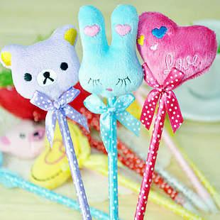 Stationery plush pen rabbit love bow ballpoint pen ballpoint pen gift pen