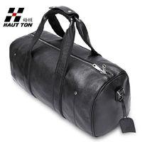 Hautton genuine leather men travel bag large capacity luggage cross-body man handbag