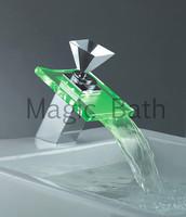 2014 bathrom faucet torneiras torneira tap led glass bathroomtemperature-control 3-coler-lighting basin faucet free shipping