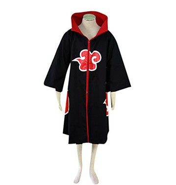 Naruto Akatsuki Anime Cosplay Costume Coat Gown black red Halloween costume Clothing(China (Mainland))