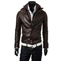 2014 New Slim Sexy Top Designed Mens Pu Leather Jacket Coat Colour:Black,Brown size M L XL XXL
