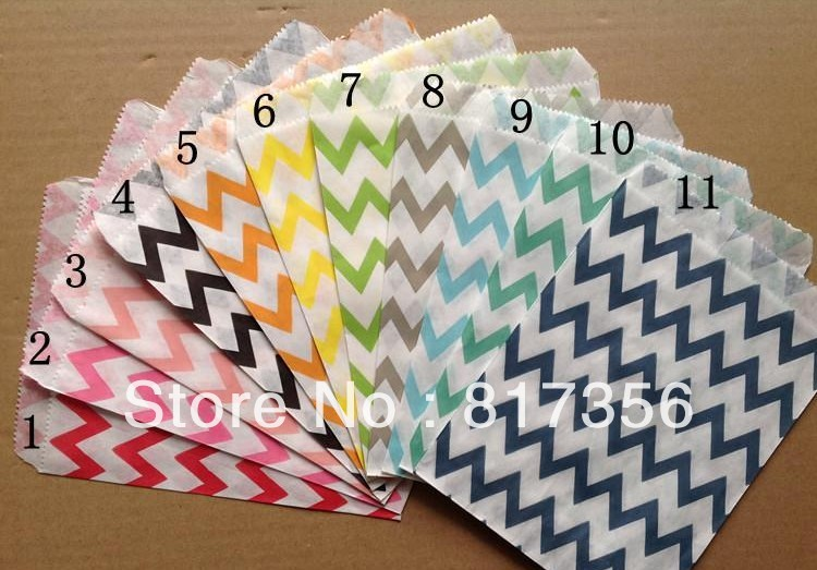 "11 Colours Mixed Chevron Itty Bitty Bag,Chevron Kraft Bag,Party Favor Bags,Chevron Favor Bag, 5"" x 7"",275pcs/lot Free Shipping(China (Mainland))"