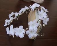 5pcs/lot Double row Bridal head white wreath hair rose natural foral garland silk flower head wreath