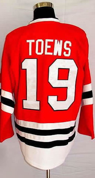#19 Jonathan Toews Men's Authentic Home Red Hockey Jersey(China (Mainland))
