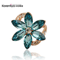 Blue Daisy austria crystal ring female fashion emerald flower rings with Free shiping