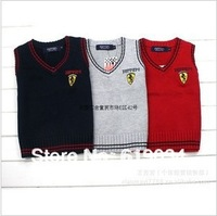 Free shipping wholesale 2013 children's clothing male child sweater male child baby 100%cotton thin sweater knitted sweater vest