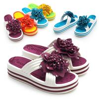 Summer 2013 cross-strap comfortable flower female slippers candy color platform shoes platform sandals wedges slippers
