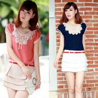 S-XXL!! 5 Colors !! 2014 summer New women & ladies plus size chiffon casual vintage Blouses petal neck,Pullover summer cute Tops