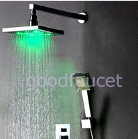 "Free shipping wholesale and retail promotion NEW Color Changing Rain Shower Faucet Set 12"" Shower head + Hand Shower Chrome"