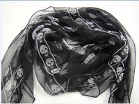 New  Spring & Summer Women's High quality SILK scarf with tags of 22 colors  White scarf with Black Skull