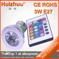 3W E27 RGB SPOTLIGHT 220v/110v  Remote Control16 Color Spot RGB LED Bulb lamp