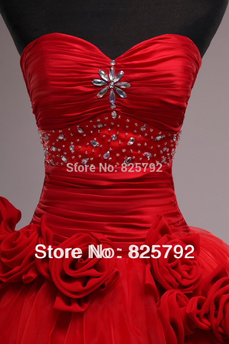 New Style Red Sweetheart Hot Sale Ball Gown Pleat Organza Bridal Wedding Dresses(China (Mainland))