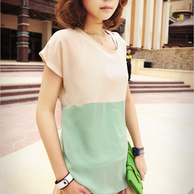 Hot Sexy Women Chiffon Color Block Round Neck Blouse Casual T Shirt Top Lots Color(China (Mainland))