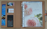 Free shipping Clip a4 loose-leaf folder 4s calculator manager folder quality leather