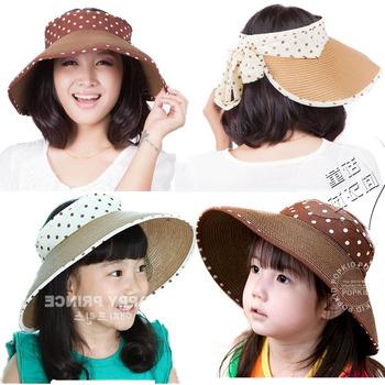2013 ribbon straw braid big brim visor hat female child sunbonnet adult sun hat parent-child