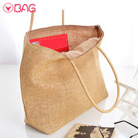 Free shipping 2014  knitted straw bag rattan woven bag casual shopping bag  travel bag
