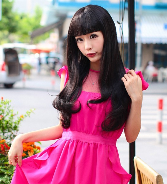 Imitation human Small wig girls long curly hair fluffy repair qi bangs curls pear sweet(China (Mainland))