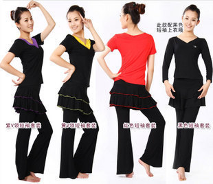 Short-sleeve V-neck Latin dance skorts modal dance clothes female Latin culottes(China (Mainland))