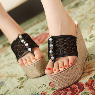 Flip-flop wedges magazine sexy gauze lace beaded ultra high heels wedges platform slippers(China (Mainland))