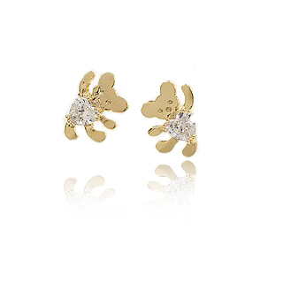 Okba accessories rhinestone mini bear stud earring 925 needles earrings female gift(China (Mainland))