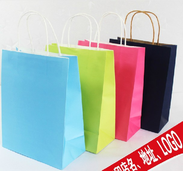 200pcs/lot Freeshipping 18*15*8cm kraft paper bag gift packaging bag light color(China (Mainland))