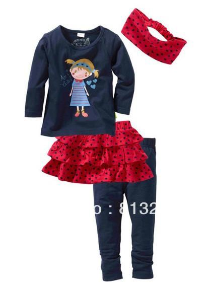 Retail! 2013 new autumn paragraph Tong Set Cute princess headdress + shirt + skirt + pants suit a family of four girls(China (Mainland))