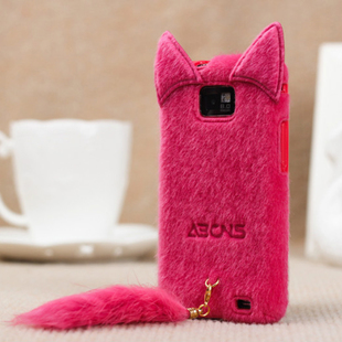 wholesale 1 piece 2013 items Free Shipping For samsung i9100 plush cat belt cell phone case brand(China (Mainland))