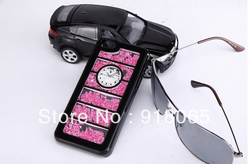 Lattice clock Swarovski Element red Crystal bling Cover Case for iPhone4 4s or iphone5 ,free shipping(China (Mainland))