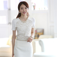 Stella free shipping 2013 summer new arrival short-sleeve o-neck patchwork shirt lace chiffon shirt ol