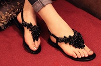 Wholesale retail Free shipping 2013 new diamond designer leisure flat PU sandals size36-41  black. Silver. Gold.