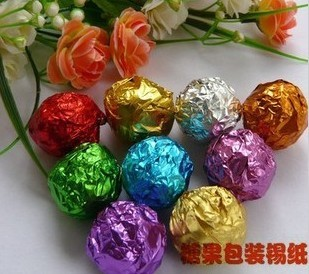 Handmade chocolate packaging paper aluminum foil paper chocolate packaging aluminum foil aluminum foil paper 8 8cm 100(China (Mainland))