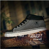Free shipping 2013 new arrival causal men korean style fashion breathable sneaker shoes  men's high-top canvas shoes