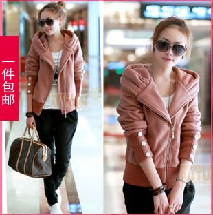 Lz1623 2013 street casual spring and autumn new arrival women cardigan thickening fleece hooded short jacket(China (Mainland))