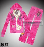 Free shipping Velvet set ed women's double layer hooded cardigan set vintage fashion ed set